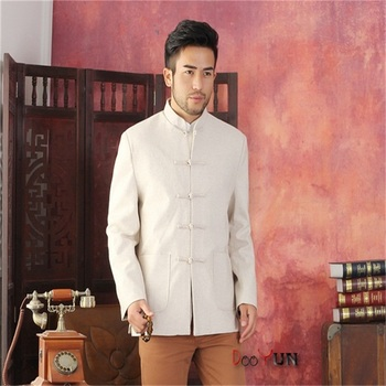 Free Shipping Beige Men's Long sleeve Chinese style Wool Jacket Kung Fu Coat Solid Simple Style Tang Suit Size S M L XL XXL XXXL