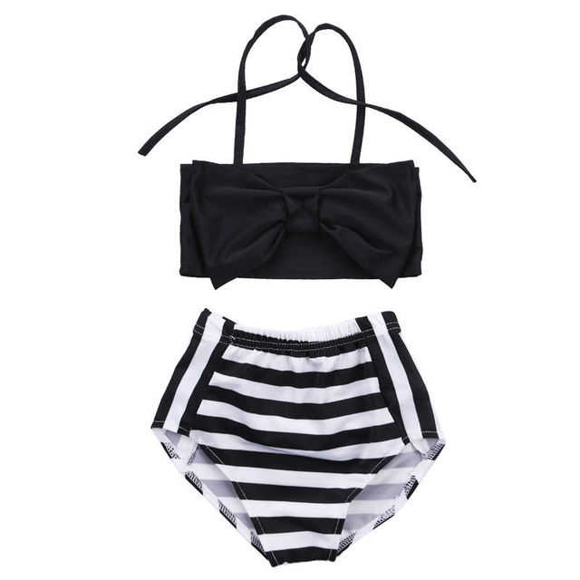 b0c79877b0ef3 Baby Girls Kids Bikini Set Beachwear Knot Top + Stripes Bottoms Swimsuit  Swimwear Sets Clothes Bathing