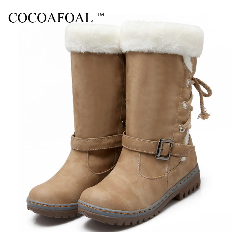 COCOAFOAL Womens Snow Boots Winter Shoes Thigh High Snow Boots Woman Plus Size 43 Fashion Green Punk Winter Ankle Boots 2018