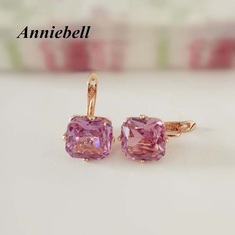 купить Anniebell 1 Pair Trendy Wedding Earring Women Rose Gold Color Jewelry New Fashion Big Square Pink Zircon Luxury Drop Earrings онлайн