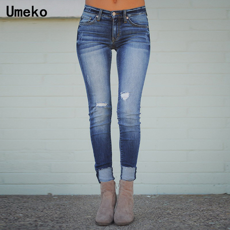 Umeko Blue Denim Skinny Jeans Women High Waist Distressed Jeans For Women Fashion Long Pants Autumn Casual Stretch Trousers