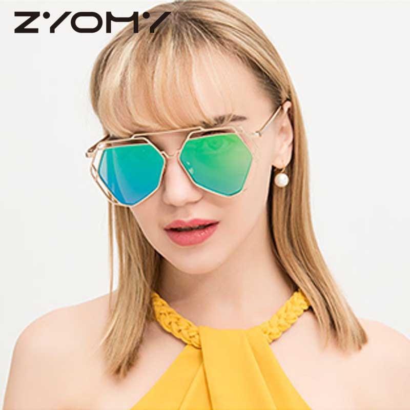 Rijden Bril Veelhoek Goggle Merk Designer Vrouwen Zonnebril Metalen - Kledingaccessoires