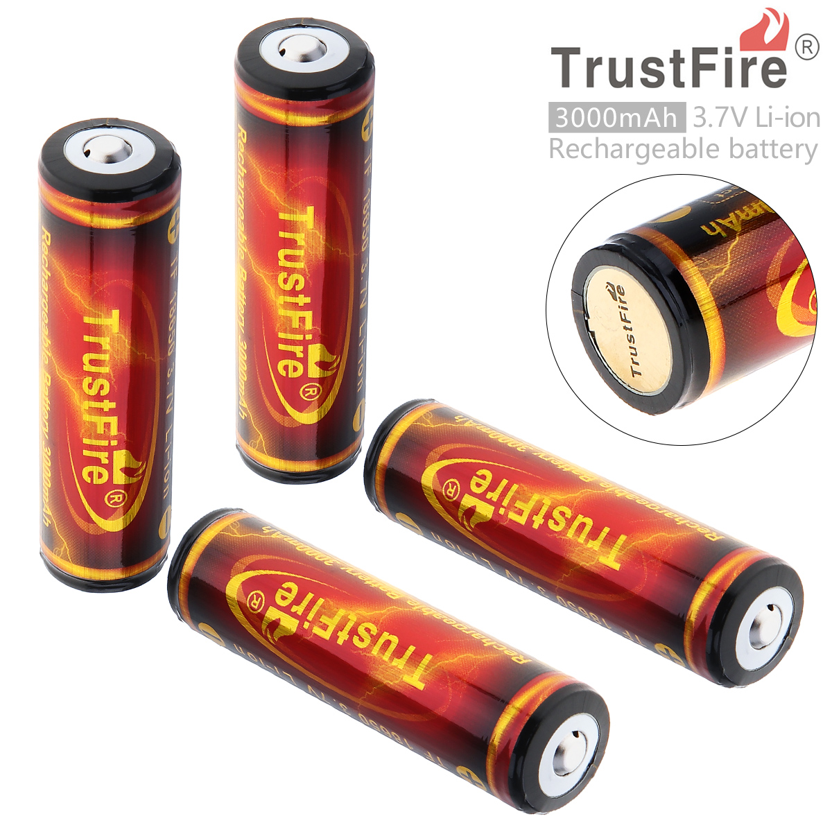 4pcs TrustFire PCB Protected 18650 3.7V 3000mAh High Capacity Flashlight Rechargeable Battery цена