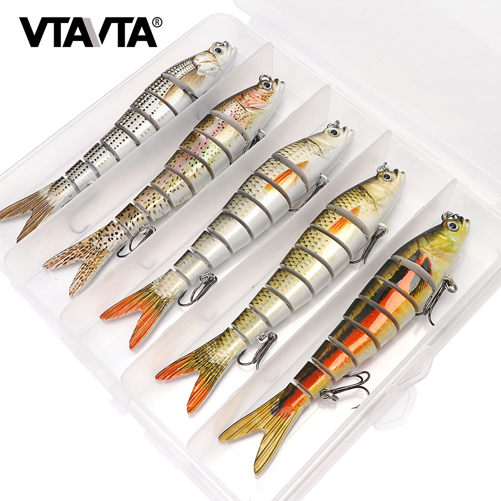 3/5pcs 14cm 23g Sinking Wobblers Fishing Lures Set 8 Segments Crankbait Hard Artificial Bait Kit Swimbait Pike Fishing Lure
