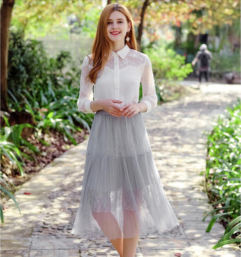 e5306ac9cd Gasa Camisa Cuello Bow Nueva De Organza Mujer En Moda V Temperamento  Primavera Blusa Tops Señoras Manga ...