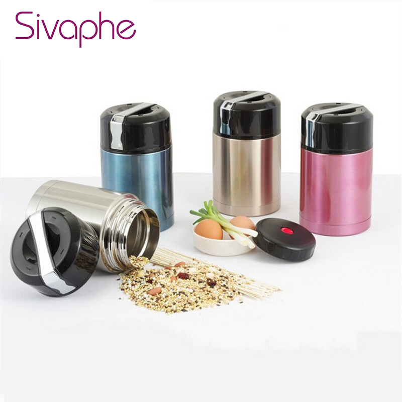 800ML Applied Insulated Food Jar Pot Stainless Steel Food Thermos Mug Portable Vacuum Th ...