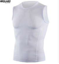 ARSUXEO Mens Summer  Breathable Cycling Vest Running Walking Bicycle Undershirt Quick Dry Mesh Sleeveless Sports