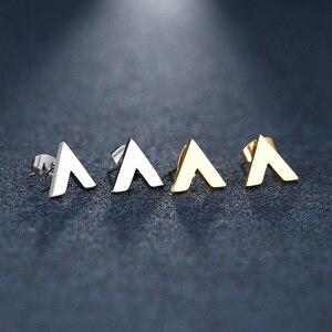 Женские и мужские серьги-пусеты DOTIFI, из нержавеющей стали, с треугольным вырезом, золотистого и серебристого цвета, для помолвки, Прямая пос...