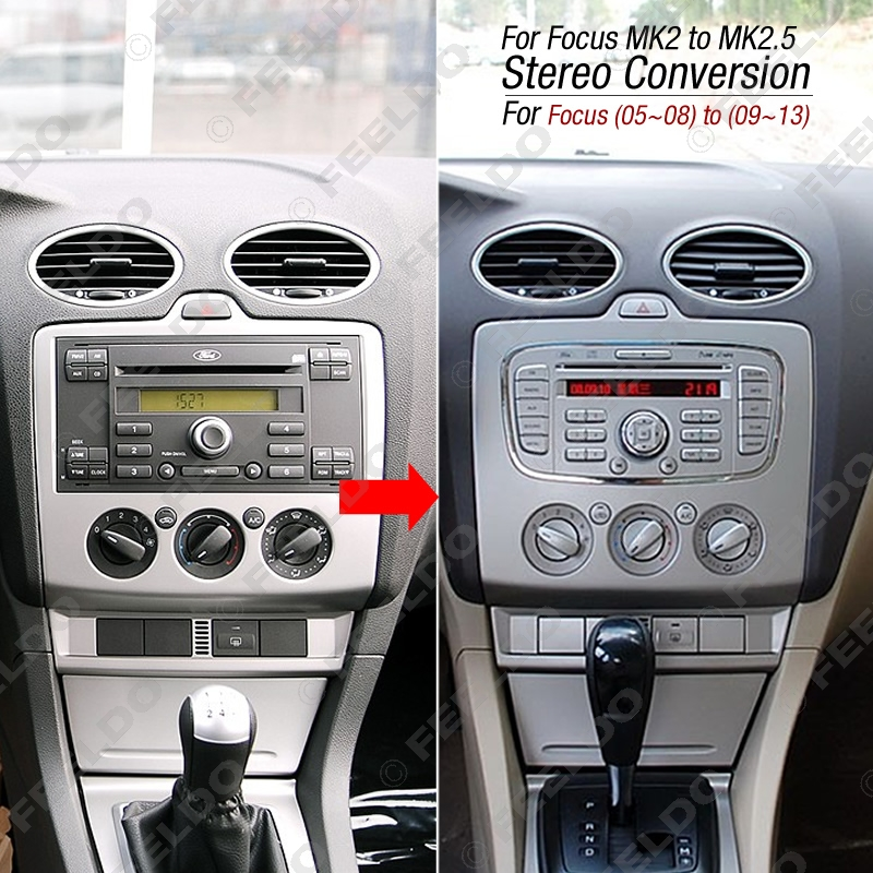 Feeldo Car Radio Stereo Dvd Frame Fascia Dash Panel For Ford Focus Mk2 05 07 Into 5 09 13 Conversion Am3091 In Fascias From Automobiles