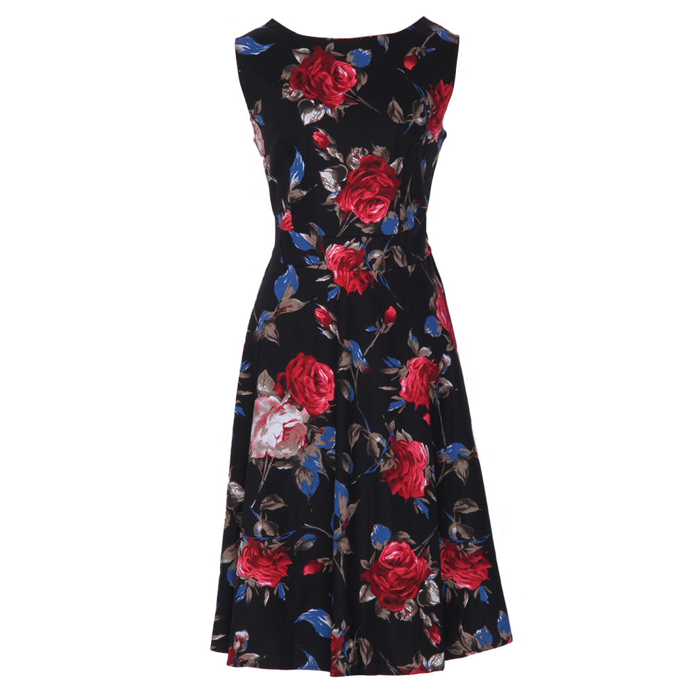 bdb84684c12 Kenancy 4XL Plus Size 2 Colors Rose Floral Print Vintage Dress Women O neck  Sleeveless High Waist Midi Vestidos Elegant Dress-in Dresses from Women s  ...