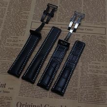 Nuevo estilo Suave Cuero Genuino del Becerro Correa con línea blanca cosida plata negro Correas de Reloj Hebilla del despliegue 22mm 24mm
