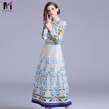 Spring Fashion Dress Runway Dresses 2019 Women High Quality Vintage Floral Print Long Maxi Womens Elegant Party