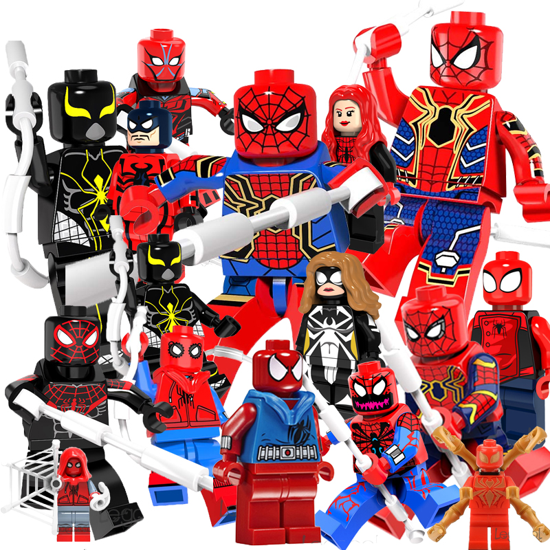все цены на Single Super Hero SpiderMan Spider-Man Peter Venom Carnage Action model Vulture figure bricks building blocks toys for children