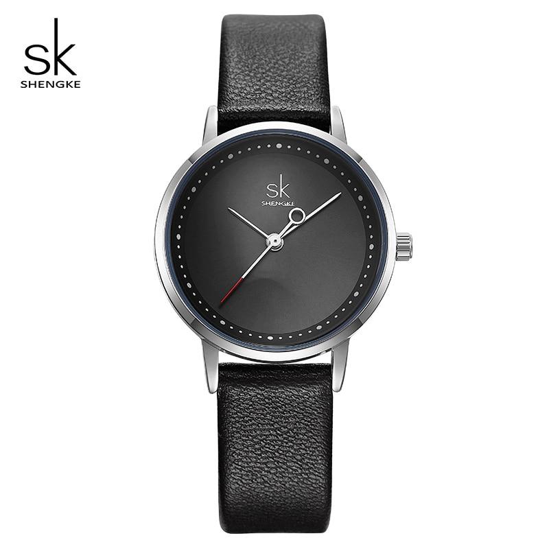 Shengke Ladies Watches Black Fashion Leather Wrist Watch Female Clock Reloj Mujer 2019 SK Luxury Brand Women Quartz Watch