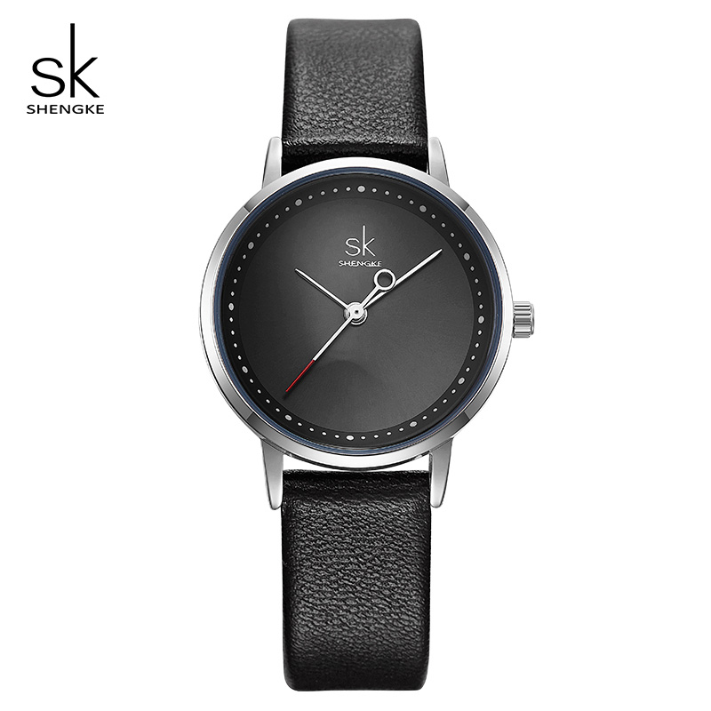 Shengke Ladies Watches Black Fashion Leather Wrist Watch Female Clock Reloj Mujer 2019 SK Luxury Brand Women Quartz Watch