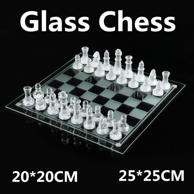 Jeu d'échecs en verre de luxe élégant plateau et pièces en verre 1