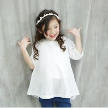 2016 Summer Style Baby Girl Flower Hollow Out Party Dresses Children Girls White Lovely Lace A-line Princess Dress Kids Clothes