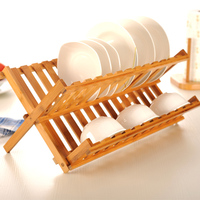 Natural Bamboo Folding Dish Drying Rack Flatware Holder Plate Storage Holder Plate Wooden Flatware Dish Rack Kitchen Accessories