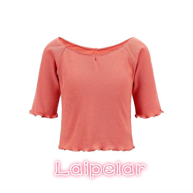 2018 Summer women tops and bloues sexy crop top t -shirt V neck half short-sleeved ruffles streetwear casual beach party shirts