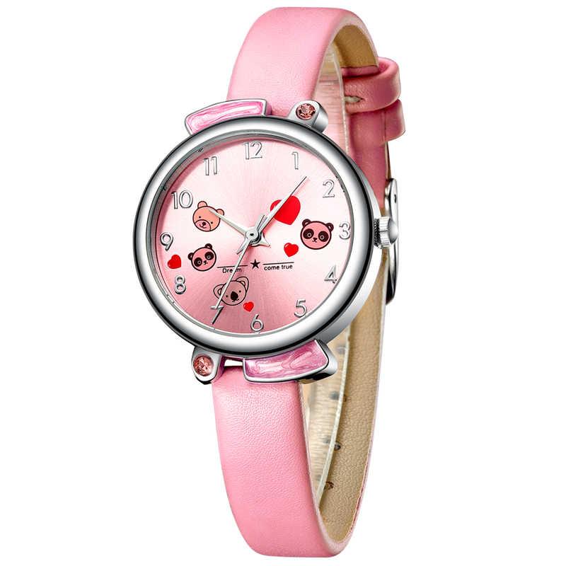 KDM Cute Cartoon Panda Child Watches Waterproof Kids Watch Genuine Leather Kid Pandas Children Wristwatch Student Girl Boy Clock