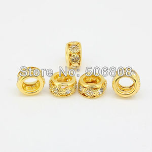 Image 2 - 100pcs Gold color Round Clear Crystal Rhinestone Loose Spacer Beads Fit Charm European Bracelet Beads
