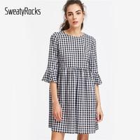 DIDK Bow Tie Open Back Fluted Sleeve High Waist Gingham Dress Summer Cute Girl Dress Vintage