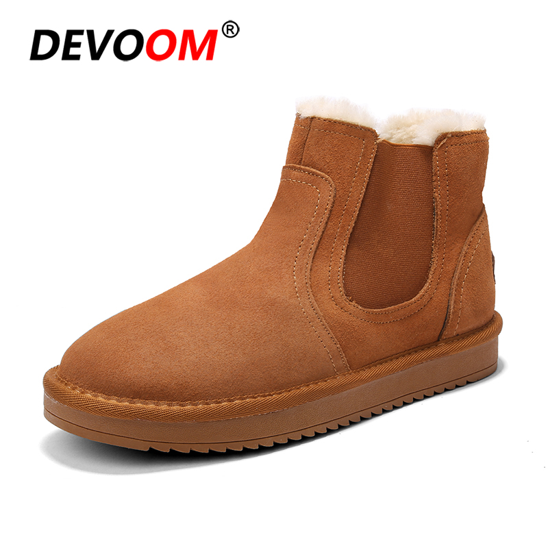 Men's Shoes Fashion White Boots Men 2018 Men Genuine Dr Leather Boots Footwear Snow Boots Men Winter Shoes Real Leather Fur Unisex Sneakers