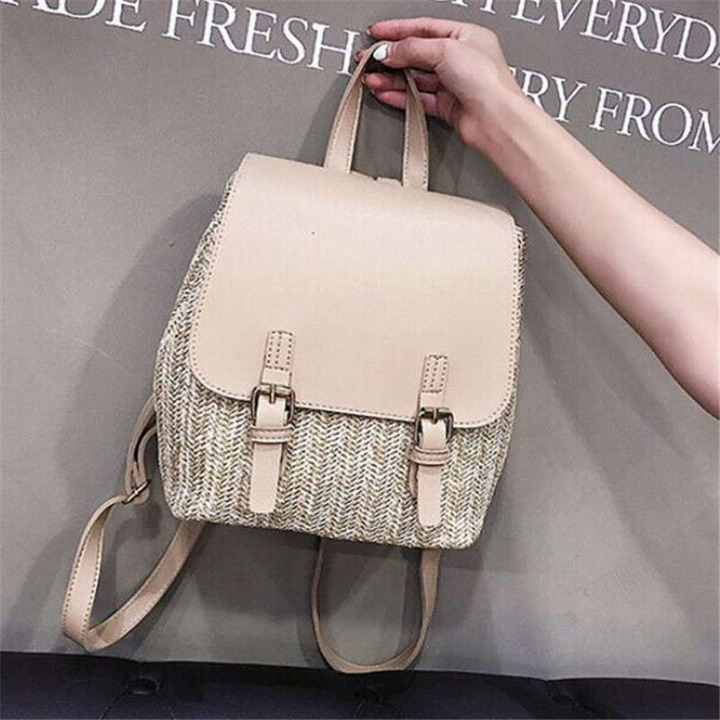 Women's Straw Leather Bag New Soild Color Woven Rattan Backpack Ladies' Casual Traveling Beach Satchel School Bags Hot Selling