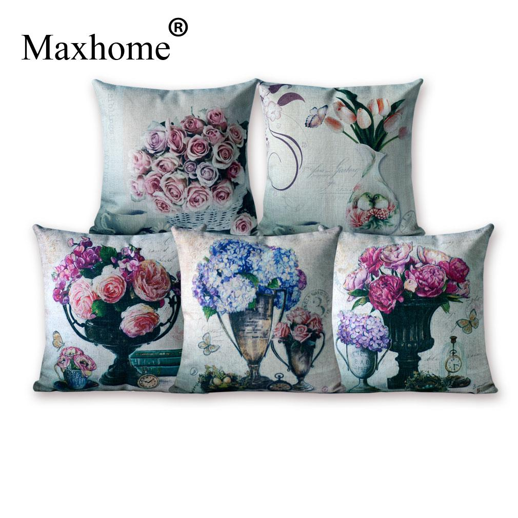 American Country Cotton Linen Pillowcase Retro Art Cushions Decorative Pillow Home Decor Sofa ...
