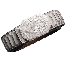 1980 genuine boa leather 3D carved sterling silver buckle super quality durable stylish handmade belt