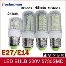 1Pcs Hot sale LED lamp E27 E14 led bulb 220v 240v 24/36/48/56/69/72Leds SMD 5730 bombillas led Free shipping