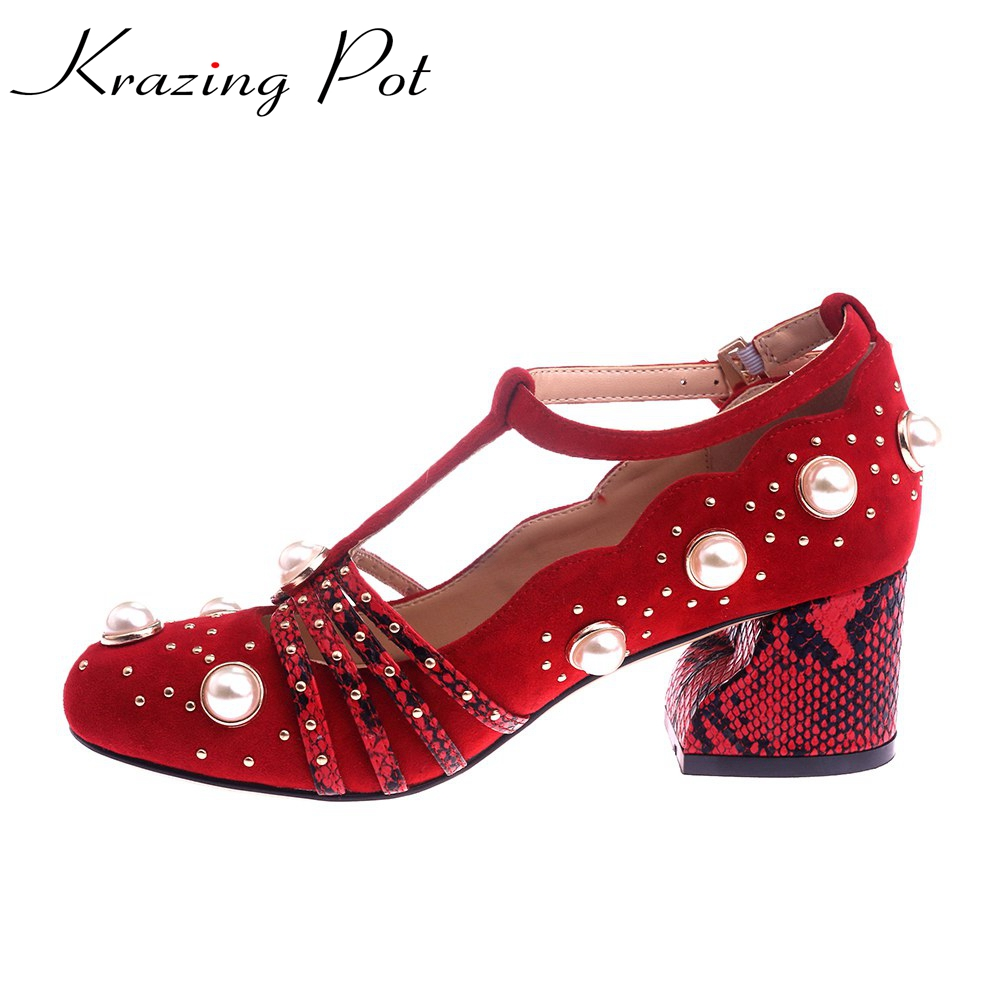 Krazing Pot fashion brand shoes sheep suede pearl buckle straps round toe thick high heels wedding women pumps mary janes L01