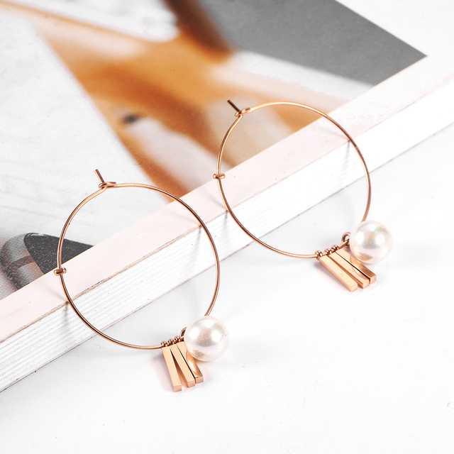 OUFEI Stainless Steel Jewelry Woman Vogue 2019 Charm Rose Gold Pearl Hoop Earrings Fine Jewelry Accessories Mass Effect Bohemian