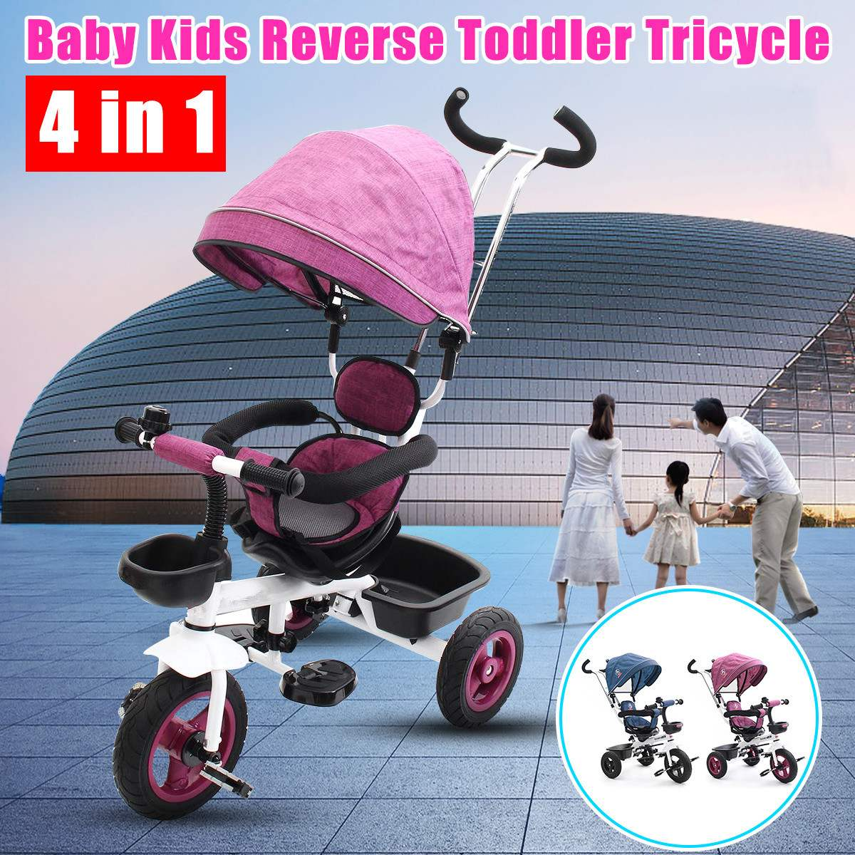 4 In 1 Ride-On Toys Baby Toddler Pram Tricycle Bike Trike Stroller Kids Canopy Baby Car Seats Stroller4 In 1 Ride-On Toys Baby Toddler Pram Tricycle Bike Trike Stroller Kids Canopy Baby Car Seats Stroller