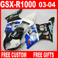 Free custom Fairings for SUZUKI 2003 2004 GSXR1000 K3 fairing set 03 04 GSXR 1000 GSXR 1000 glossy black white jewelry blue GK84