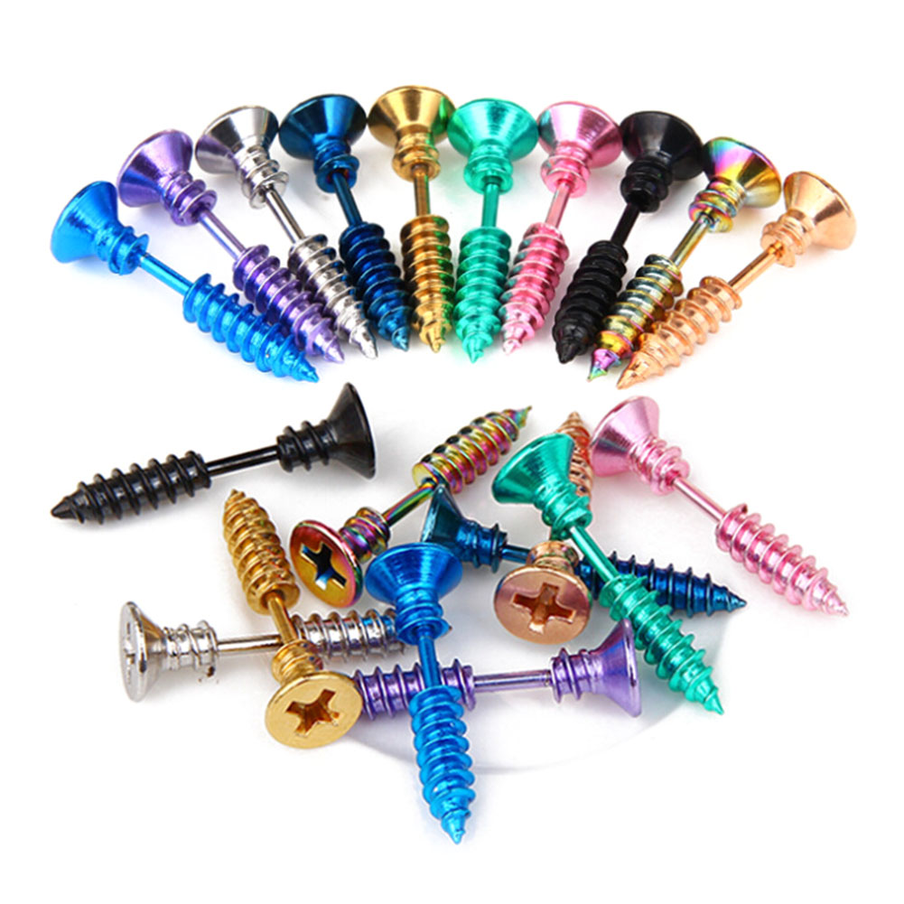 2018 New Fashion style 1Piece Steampunk Screw Stud Earrings Stainless Steel Body Piercing Ear Stud for Men Women