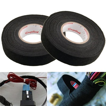 Black Color 1Roll 19mm x 15M 15mx9mm Wiring Harness Tape Strong Adhesive Cloth Fabric Tape For Looms Cars