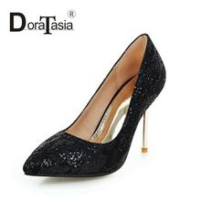 DoraTasia New Big Size 32-42 Bling Upper Pumps European Style Thin High Heels Woman Shoes Pointed Toe Wedding Party Pumps Women