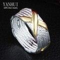 ЯНЬХУЭЙ Гарантировано 100% Стерлингового Серебра 925 Кольцо S925 Штампованные Золотой X Мужчины Обручальное Кольцо для Женщин YR115