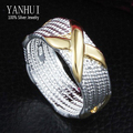 YANHUI Guaranteed 100% 925 Sterling Silver Ring S925 Stamped Golden X Men Wedding Ring for Women YR115