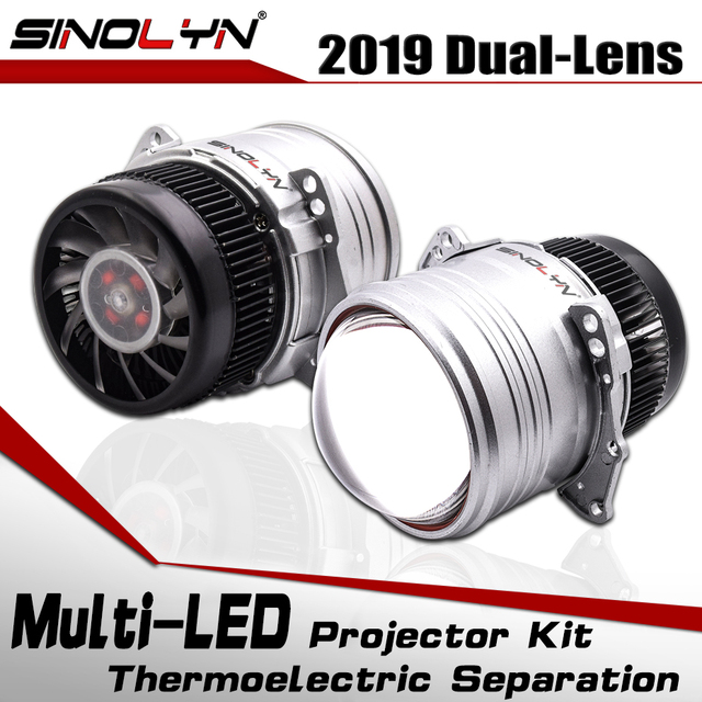 SINOLYN Car 3.0 inch Bi LED Lens I5 Headlight Retrofit Projector LED Light Lamps Lenses Kit 6000K 5200LM Accessories Retrofit
