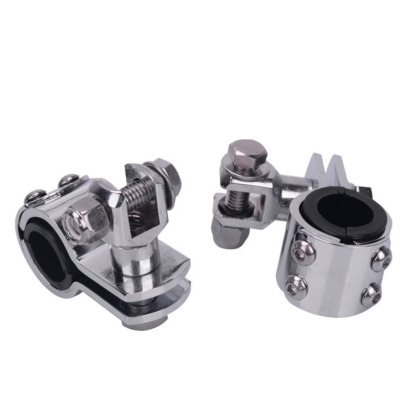 Motorcycle Pair 1-1/4 32mm Chrome Highway Crash Bar Footpegs Pedal Rest Clamps Engine Guard Mounts Adapter for Harley Honda ATV