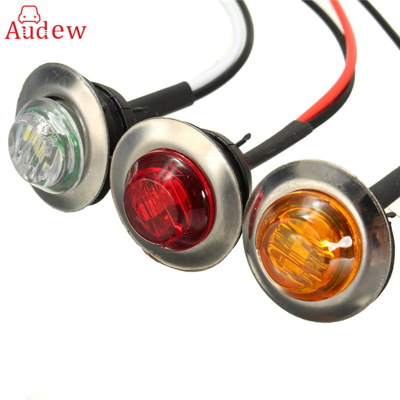 12V LED Side Marker Turn Signal Light Clearance Indicator Bezel Lamp Truck Trailer Caravan Amber Red White faux pearl double stud earrings