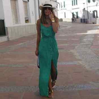 Sleeveless Green V-Neck Summer Dress  3