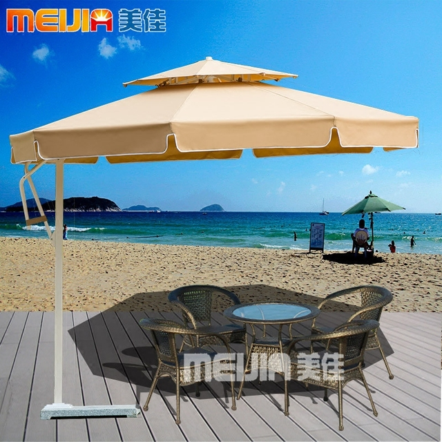 Charmant Rain Umbrella Patio Outdoor Beach Side Aluminum Advertising Stall Villa  Eccentric
