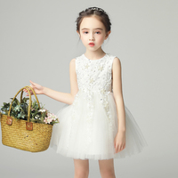 Robe White Princesse Beads Ball Gown Sleeveless Sequins First Communion Dresses Children Short Prom Flower Girl Mesh Dress