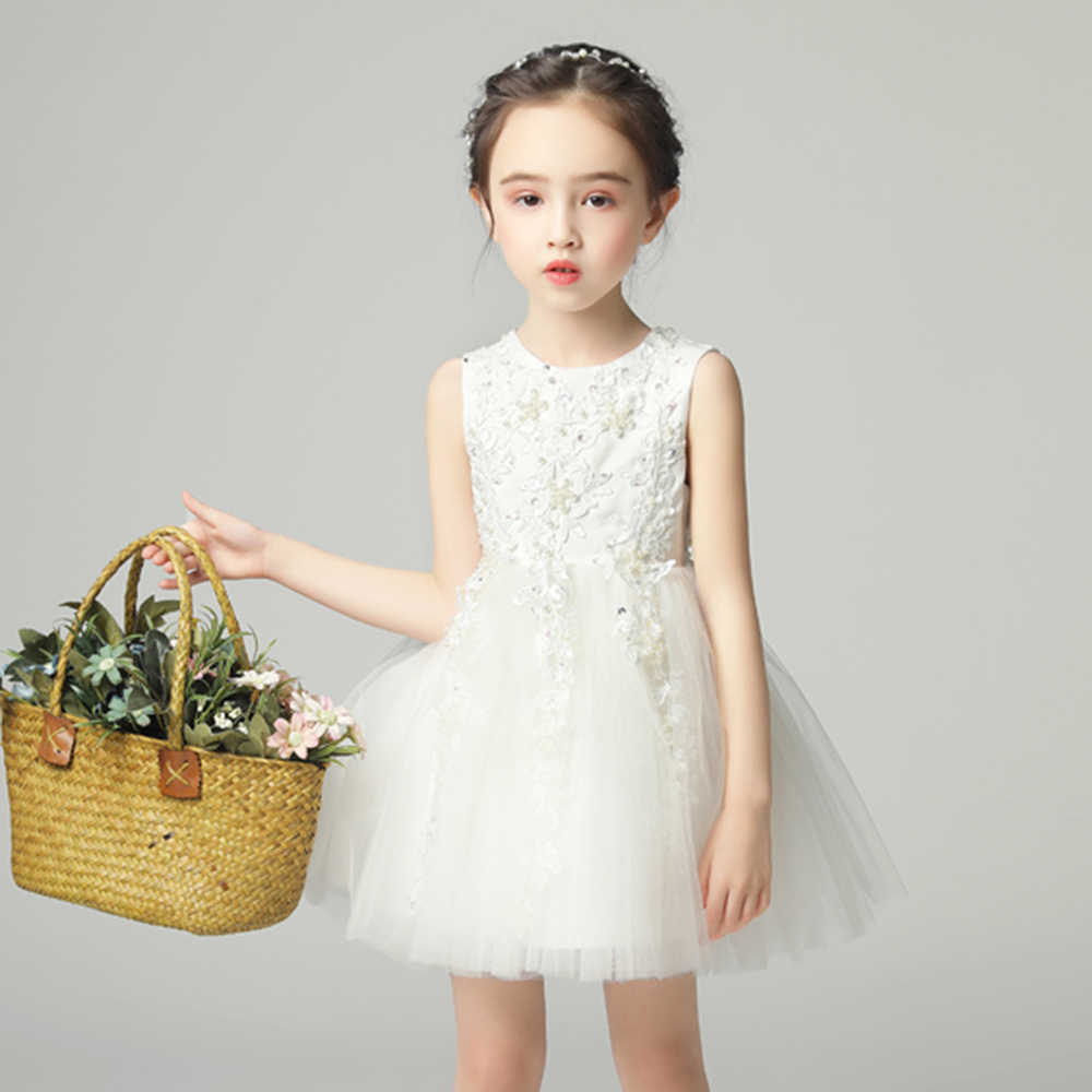 Vestido Blanco De Princesa Con Cuentas Vestido De Fiesta Sin Mangas Lentejuelas Vestidos De Primera Comunión Para Niños Vestido Corto De Fiesta De