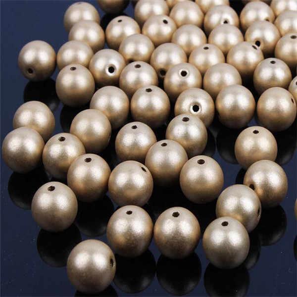 100 Pcs Matt Warna Emas Mutiara Imitasi Akrilik Beads untuk Perhiasan Membuat Gelang Manik-manik