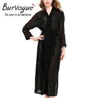 Burvogue Nightrobes Transparent Sleepwear Robes Womens Long Sleeve Pajamas Nightwear Femme Lounge Pyjama Robe One Size