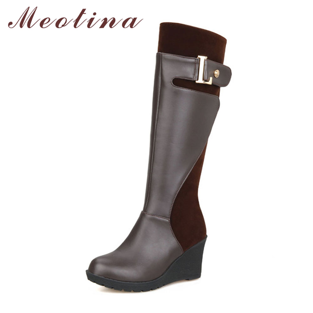 Meotina Women Knee High Boots Winter Platform Boots Wedge Heels Fur Buckle Snow Boots Round Toe Female Shoes Red Big Size 11 46 nayiduyun women casual shoes low top platform wedge high heels boots round toe slip on pumps punk chic shoes black white sneaker